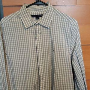 Mens grey plaid button down shirt